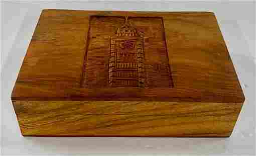 Wooden TeaDresser Box w Clock Tower Carving