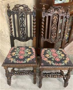 Pair Of Vintage Oak Heavily Carved Chairs