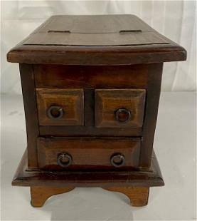 Wooden Primitive Dresser Box w Hinged Mirror