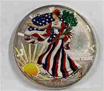 2008 1OZ Silver Dollar Coin wPainted Liberty