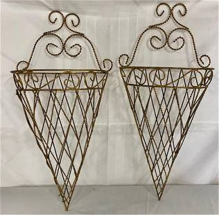 Pair of Wire Wall PocketsSconces