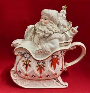 Lenox Florentine Pearl Santa Teapot