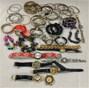 Assortment of Costume Jewelry and Watches