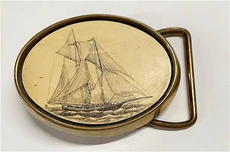 Vintage Barlow Scrimshaw Brass Belt Buckle
