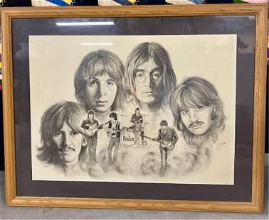 Framed Beatles Lithograph