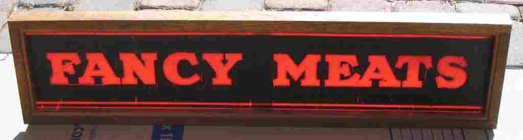 """Vintage Stained Glass """"Fancy Meats""""  Sign"""