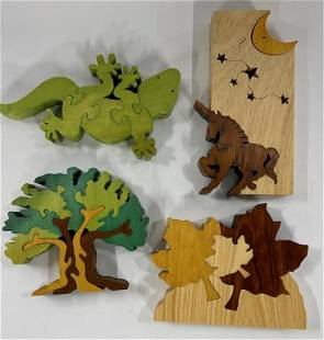 4 Small Wood Decorator Puzzles Bersus
