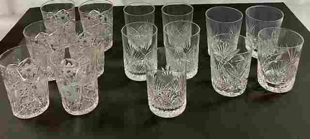 15 Assorted Crystal Glasses