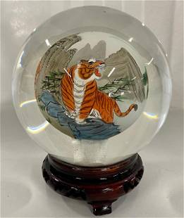 Reverse Painted Asian Tiger Spher