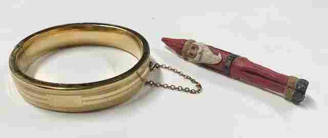 Gold Filled Bangle / Wood Santa Brooch