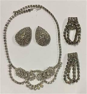 Rhinestone Necklace & 2 Pair Rhinestone Earrings
