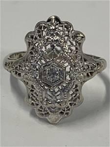 10k Diamond Filigree Ring
