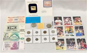Assorted Foreign Currency, Collectors Cards, Stamp