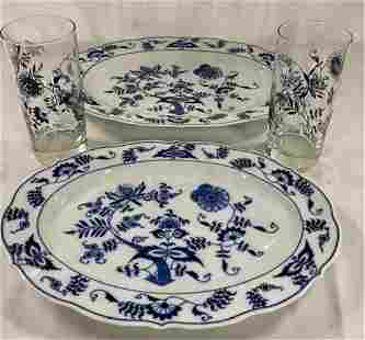 Blue Danube Platters and Glasses