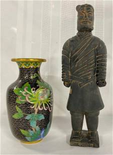 Brass/Enamel Vase & Clay Figurine