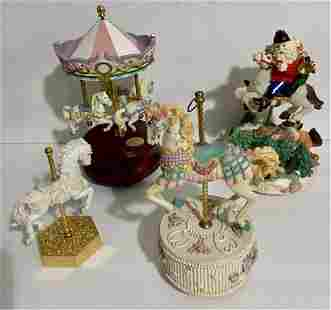 4 Carousel Music Box Figures