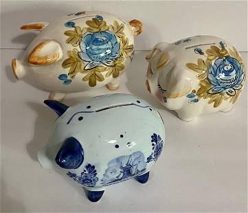 3 Porcelain Pig Piggy Banks