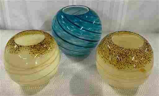 3 Art Glass Decorator Bowls