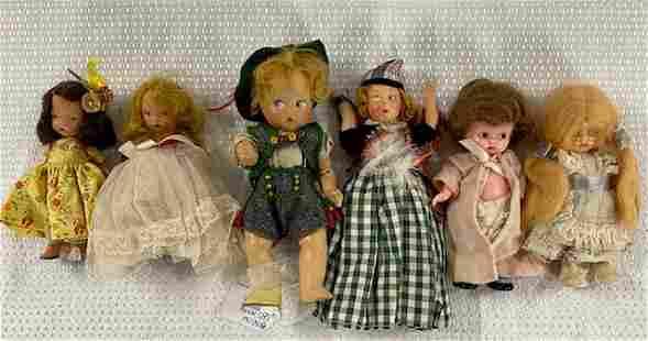 6 Antique Small Dolls