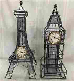 2 Metal Landmark Clocks
