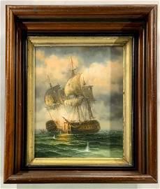 Oil on Canvas Board - Early Sailing War Ships