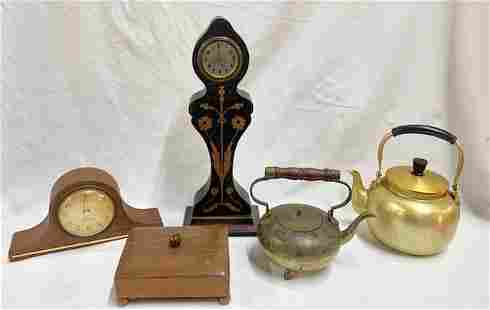 Collectable Clocks, Kettles, and Box