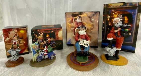 4 Harley Davidson Holiday Figurines