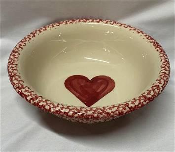 Red Spongeware Heart Bowl