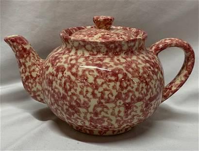 Pink Spongeware Teapot