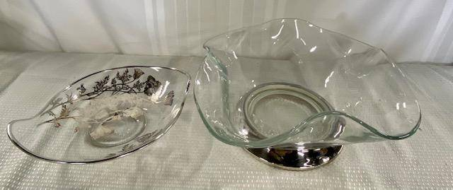 2 Glass Bowls With Silver & Silverplate.