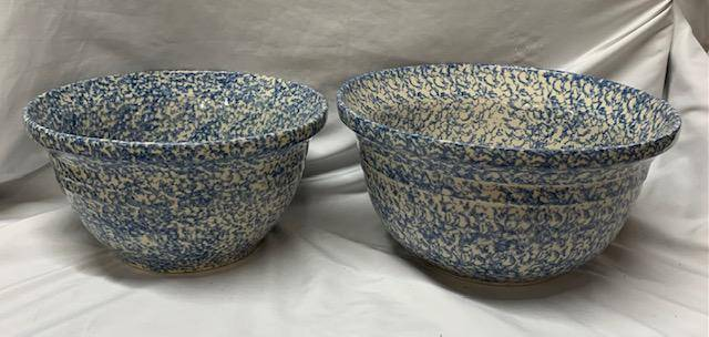 2 Large Blue Spongeware Mixing Bowls
