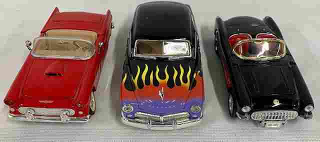 3 Model Cars-Thunderbird/Mercury/Corvette