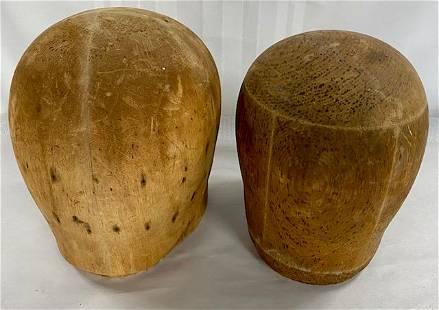 2 Antique Wood/cork Hat Molds