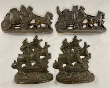 2 Pairs of Cast Metal Bookends