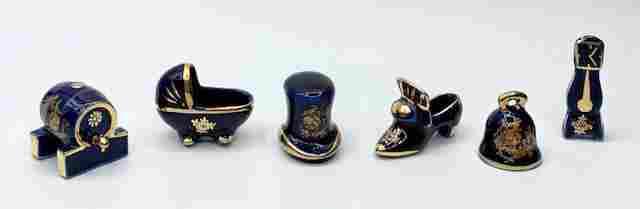 6 Piece Limoges Cobalt Miniatures