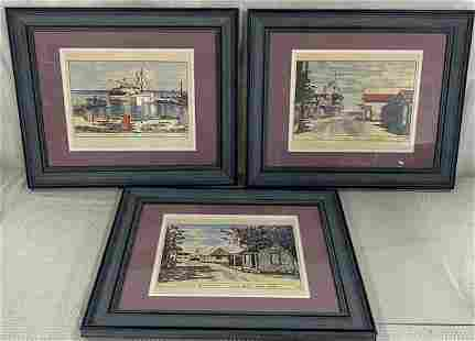 3 Cayman Island Pictures Signed Pat Quinn 1966