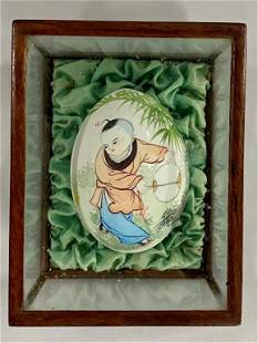 Asian Painted Egg in Small Display Case