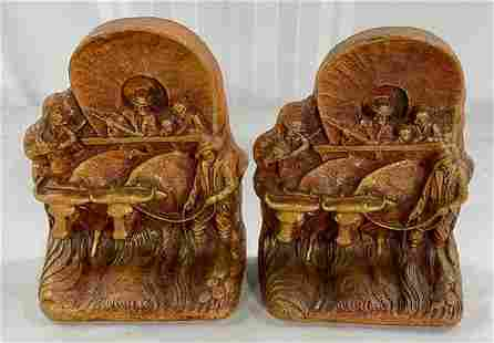 Pair of Syroco Covered Wagon Bookends