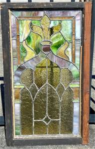 Beautiful Vintage Leaded Stained Glass Window