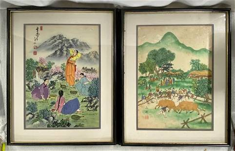 Pair Of Asian Signed Painting