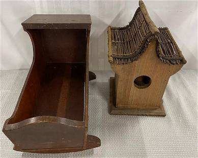 Bird House and Vintage Wood Doll Cradle