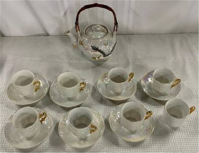 Vintage Asian Teapot and Cups and Saucers