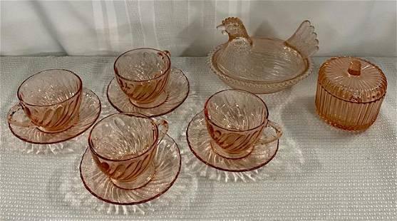 10 Pcs. Pink Depression Type Glass