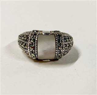 Sterling Marcasite Ring W MOP Stone
