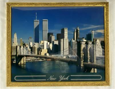 NY Harbor w/ Twin Towers Framed Print