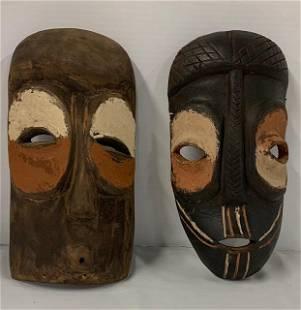 2 Vintage Tribal Wood Carved Masks