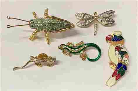 5 Cute Bug/Bird/Lizard Brooches
