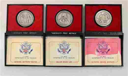 3 Pewter Collectors Coins in Presentation Cases