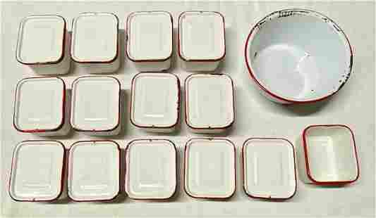 28 Pieces White w/ Red Enamelware