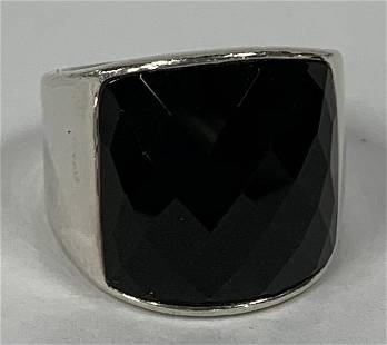 Sterling Faceted Black Onyx Ring